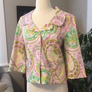3 Sister Paisley S Jacket Top Suit Pink Green 2 4